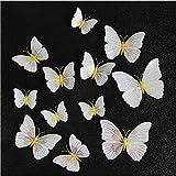 Ambilight 3D Mariposa Pared Pegatina Mariposas Casa Decoración Refrigerador Imán Pared Pegatinas para La Boda 12pcs/Set Amarillo