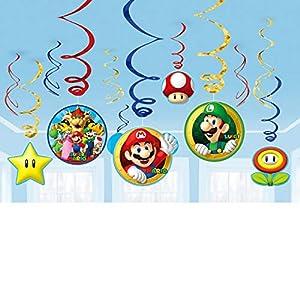 Amscan-Decoraciones de remolino de 671554Super Mario.