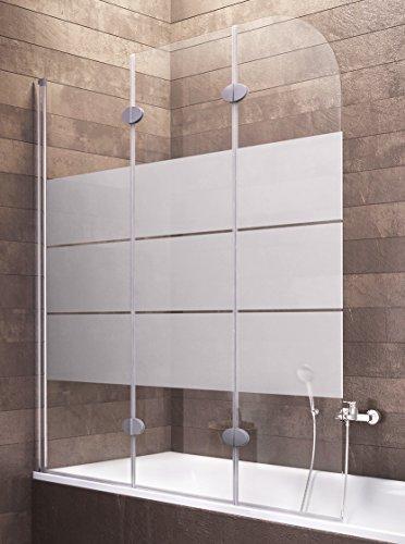 Duschabtrennung Badewanne Milchglas 3 teilig 140x125 cm Hamburg