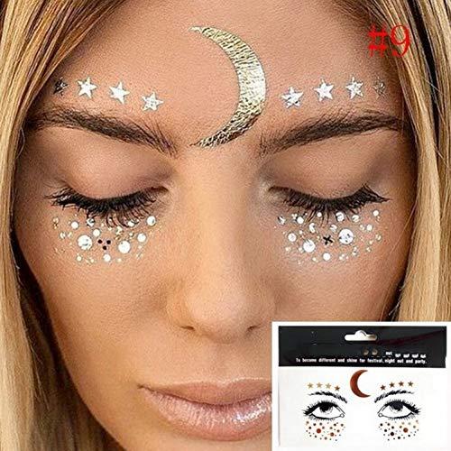 CIHKIKO 1 Paket Gesicht Aufkleber TattooGesicht Schmuck Sterne Augen Mond Sommersprossen Schönheit Make-Up Aufkleber Körperkunst Temporäre Malerei Tattoo -
