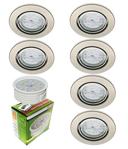 6x ultra flache LED Einbaustrahler Einbauleuchten Deckenstrahler im Edelstahl-Look incl. 6x dimmbarem LED Modul nur 30mm Einbautiefe TG6729-062MOSD Trango