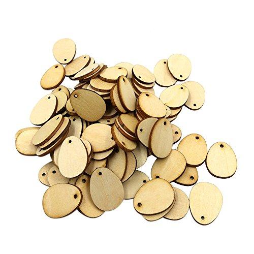 SEEGOU 100pcs Ostereier Form Ovaler Holzspan Holz DIY Hängende Ornamente Ostereier Holz Ostereier Holz Handwerk für Ostern Dekorationen Tag (C, Khaki)
