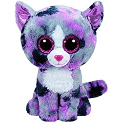 TY - Beanie Boos Lindi, gato, 15 cm, color gris / rosa (United Labels Ibérica 37172TY)