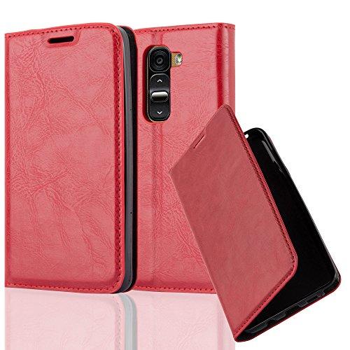 Cadorabo Hülle für LG G2 Mini - Hülle in Apfel ROT – Handyhülle mit Magnetverschluss, Standfunktion und Kartenfach - Case Cover Schutzhülle Etui Tasche Book Klapp Style