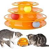 Invero Interaktives Spielzeug für Katzen und Kätzchen, 3 Ebenen und 3 Bälle