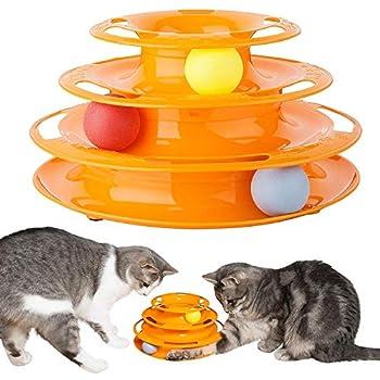 Invero® Jouet trilaminaire pour Chat et Chaton 3 Niveaux et 3 balles