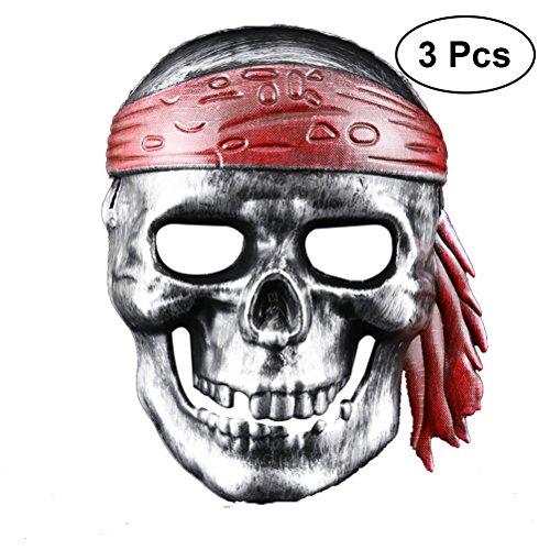 BESTOYARD Halloween Dekoration Piraten Schädel Skeleton Maske Spooky Kapitän Masken Piraten Kostüm Zubehör für Halloween Party 3 Stücke (Silber)