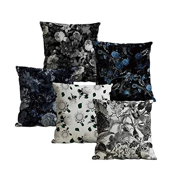 Aart Store Silk Floral Decorative Print Pillow Cushion Covers (Multicolour, 18 x 18 inch) Set of 5