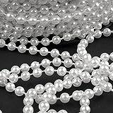 2m Perlen weiß 5mm Perlenband Perlenkette Perlengirlande Perlenschnur Weihnachten Advent Hochzeit Deko Tischdeko Meterware