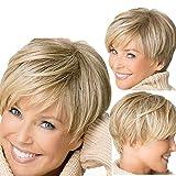 Damenperücke, mit blonde, kurze, hitzebeständig, leicht gewelltem Haar für Frauen natürlich aussehende hitzebeständig von Vovotrade (Gold)