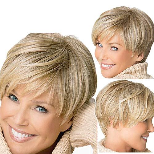 Rosennie Damenperücke Perücke Mode Gold kurze Perücken Synthetische Gerade Haar volle Perücken für Frauen natürliche Bob Straight Wigs wie Echthaar Blonde, hitzebeständig Kunsthaar (Gold) (Freestyle Kostüm Zu)