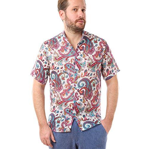 Lailaada by cacala nice camicia da spiaggia da uomo con bottoni, colletto alla coreana, cotone traspirante, fantasia a fiori (bianca, l)