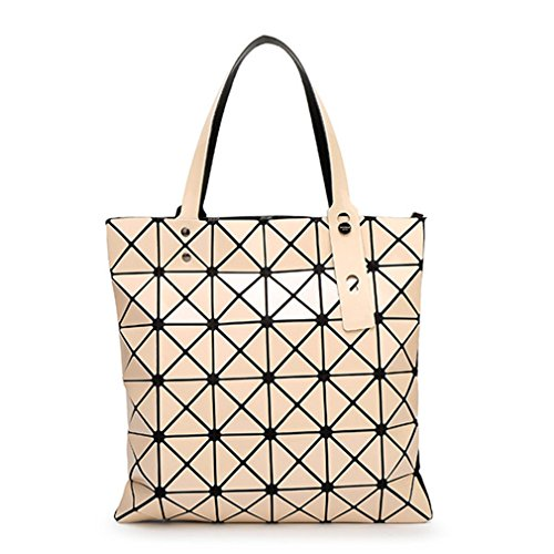 Yueling 15 Farben Frauen Geometrie Bao Tote Schimmer Handtasche Laser Diamantgitter Shopper Falttasche Umhängetaschen Beige