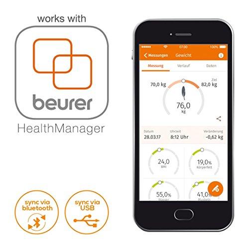 Beurer BF 105 - Báscula digital diagnóstica profesional con función bluetooth, con App en español, color plata