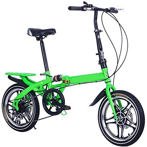 WHKJZ Unisex Stahlkohlenstoff Falt Fahrrad 16 Zoll 6 Gang Freilauf Kettenschaltung Tragen und langlebig Reibungslose Anstrengung,Green