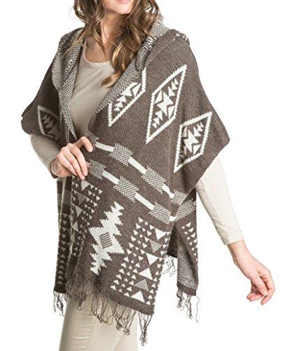 Laura Moretti - Giacca maglia oversize, senza bottoni, manica corta, con cappuccio, a frange e stampa geometrica etnica a parte in basso, stile kimono Marrone