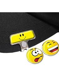 Gelb Smiley Elite hat oder Gap Clip mit Lachen und Crazy Golf Ball Marker
