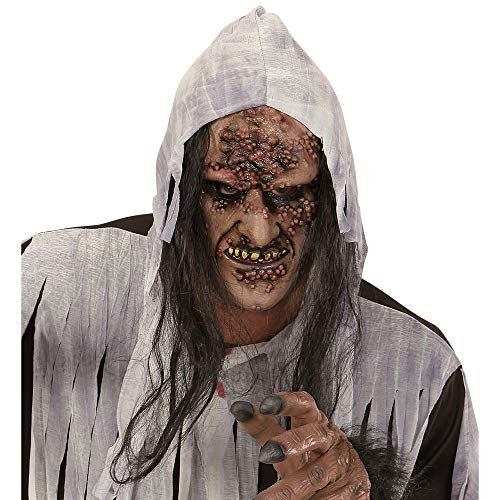 WIDMANN 00379–Máscara zombie/Bruja a medio Viso con pelo, adulto talla única