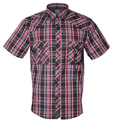 Rock-It Kariertes Herren Hemd Kurzarm Worker Hemd Worker Shirt Freizeithemd Arbeitshemd Made in Europa Größen S-5XL Farbe Schwarz 3X-Large
