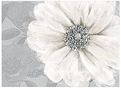 Graham & Brown Grey Silver Metallic Bloom Foral Printed Canvas Wall Art 41-712 - inexpensive UK light store.