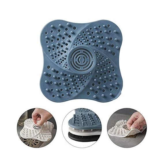 Hamkaw Silicone Drain Hair Catcher, Kitchen Sink Strainer, Bathroom Shower Sink Stopper, Drain Cover Hair Trap, and Clean Suit for Multiple Drain Sizes