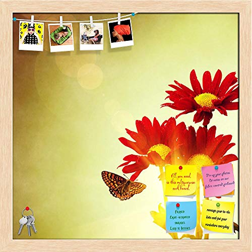 Artzfolio Red Flowers & Butterfly Under Bright Sunny Sky Printed Bulletin Board Notice Pin Board | Natural Brown Frame 20 X 20Inch -