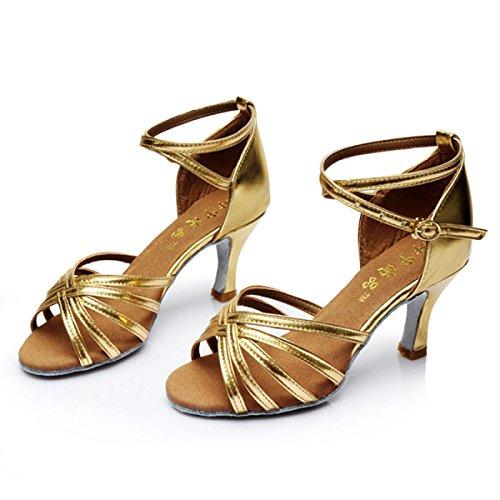 Chaussures Professionnelles Latines Des Femmes Fille Satin Supérieure Sandales Salsa / Salle De Bal Danse Chaussures Med (plus De Couleurs)