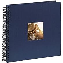 Hama Fine Art - Álbum de fotos, 50 páginas negras (25 hojas), álbum con espiral, 36 x 32 cm, con compartimento para insertar foto, azul