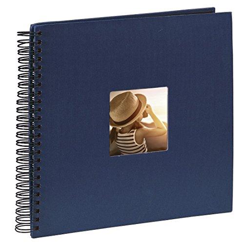 Hama Jumbo Fotoalbum (36 x 32 cm, 50 schwarze Seiten, 25 Blatt, Mit Ausschnitt für Bildeinschub, Fotobuch) blau
