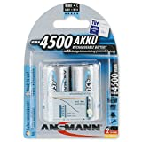 ANSMANN maxE Baby C Akku 4500mAh (2er Pack) vorgeladene ready2use NiMH Power Akkubatterie Babyzelle mit geringer Selbstentladung
