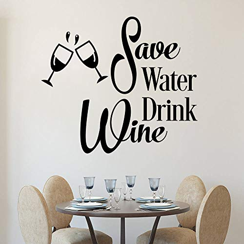 Sparen Wasser Trinken Wein Wandtattoo Lustige Küche Vinyl Wandaufkleber Wein Tassen Wandkunst Wand Re84 * 57cmmo