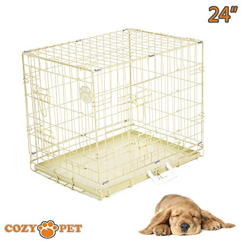 cozy-pet-dog-cage-24-beige-high-quality-metal-tray-folding-puppy-crate-cat-carrier-dog-crate-beige-i