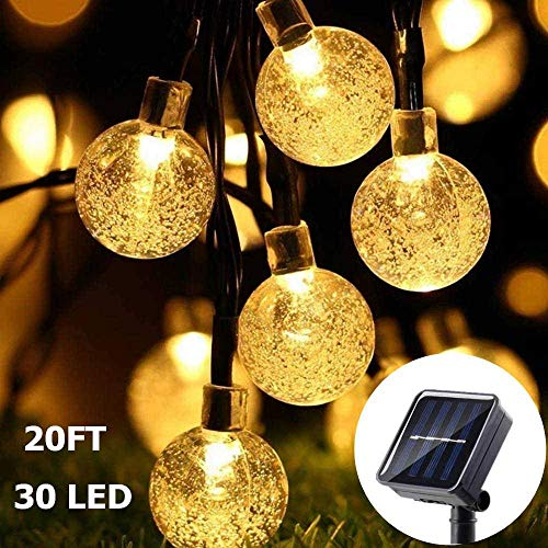 Guirnalda de Luces Solar - AUELEK Cadena de Luces de 30 LED 6 Metros de Bola de Cristal, Luces Decorativas...