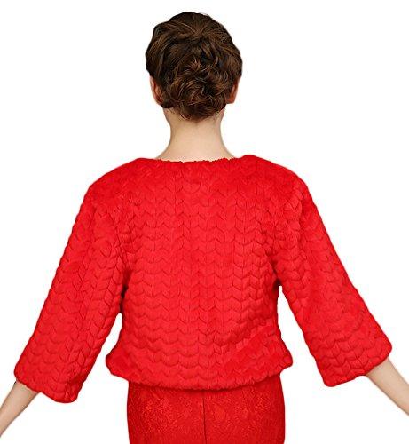 Icegrey Veste Femme Broderie Faite à La Main Demoiselle Dhonneur Pour Mariee Mariage Boléro Manche 3/4 Pour Robe de Soirée Veste Hiver Mariage Châle Rouge