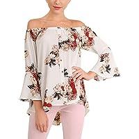 Hirolan_Frau Aus Schulter Bluse Blumen Gedruckt Lange Hülse Tops T-Shirt
