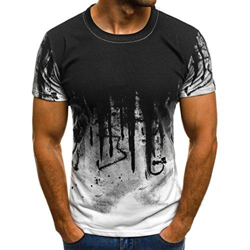 Internet Herren T-Shirt Plus Size Männer Druck T-Shirt Shirt Kurzarm T-Shirt Bluse (L, Weiß-b)