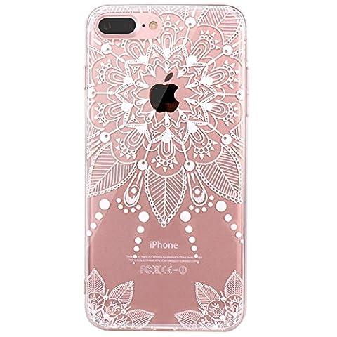 iPhone 7 Hülle, JIAXIUFEN TPU Silikon Schutz Handy Hülle Handytasche HandyHülle Etui Schale Schutzhülle Case Cover für Apple iPhone 7 / iPhone 8 - White Floral Flower Tribal