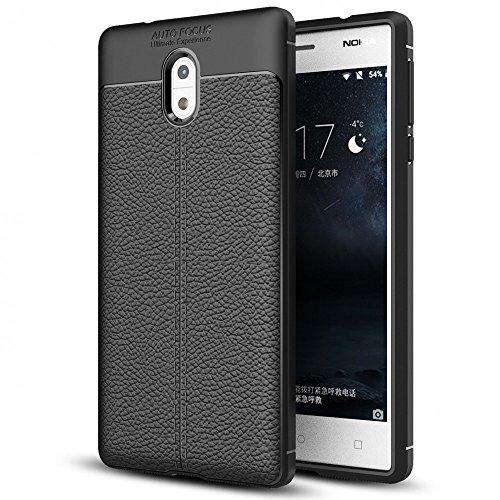 NALIA Leder-Look Hülle kompatibel mit Nokia 3, Ultra-Slim Silikon Case Cover, Dünne Phone Schutzhülle, Stoßfeste Etui Handy-Tasche Backover Handyhülle Bumper, TPU Smartphone Gummihülle - Schwarz