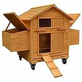 Melko Hühnerstall Hühnerhaus XXL inklusive Rampe, 157 x 90 x 114 cm, aus Holz, rollbar, 2 Nestboxen
