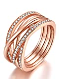 Presentski Ring Rosegold Damen Silber 925 mit Zirkonia - Ringgröße 52,55,58,60