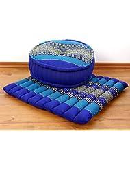 Yogaset / Meditationsset der Marke Asia Wohnstudio: 1 x Zafukissen (Yogakissen) + 1 x Sitzkissen (Meditationskissen) mit reiner Kapokfüllung, Günstiges Set im Angebot