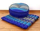 Yogaset / Meditationsset der Marke Asia Wohnstudio: 1 x Zafukissen (Yogakissen) + 1 x Sitzkissen (Meditationskissen) mit reiner Kapokfüllung, Günstiges Set im Angebot (blau)