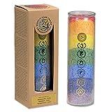 7 Chakras Duftkerze Stearin - Kerze mit ätherischen Ölen Geissblatt und Zeder – Regenbogen Kerze im Glas - CUTE NAILS
