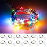 Qedertek Lichterkette Batterie, 12 Stück 2M 20 LED Kupferdraht Lichterkette Weihnachtsbeleuchtung für Innen&Außen, Schlafzimmer, Hochzeit, Garten, Weihnachten Deko usw. (Bunt)