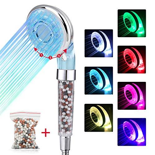 Soffione doccia anticalcare con led, 3 mode doccia con 7 colori cambia, alta pressione risparmio acqua, vieni con un pacchetto di sfere extra minerali per la sostituzione