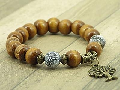 Bracelet femme Miss Chichi en bois clair, agate givrée et pendentif en forme d'arbre