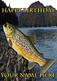 Braun Forelle Fisch Angler Angeln nbc6Happy Birthday A5personalisierbar Grußkarte geschrieben von uns Geschenke für alle 2016von Derbyshire UK