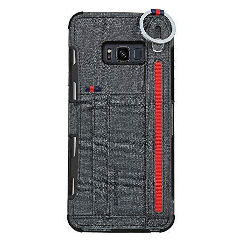 14chvily Kompatibel Für Galaxy S8 Hülle Galaxy S8 Plus Premium Leder PU Handyhülle 360-Grad-Schutz Shockproof Handytasche Kredit Kartenfächer Geldklammer (Black, Galaxy S8)