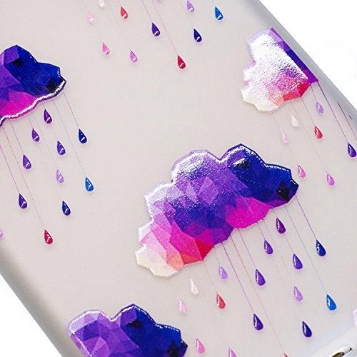 Coque iPhone 7 Plus, iPhone 7 Plus Coque Silicone Transparent, SainCat Ultra Slim Transparent TPU Silicone Case Cover pour iPhone 7 Plus, Coque Anti-Scratch Crystal Clear Soft Gel Cover Coque Fleur Tr Raindrops Pourpre