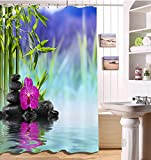 Spa,Zen,Orchid,Black Stone,Red,Purple_Decor Shower Curtain for Bathroom 59W x71H Water Resistant Polyester Fabric Bathroom Curtain